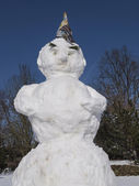Snowman in front of blue sky in Germany, Europe — Stock Photo