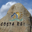 Indication of Costa Rei, City limit sign, Sardinia, Italy, Europe — Stock Photo