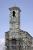 Murato, San Michelle de Murato, Corsica, France, Romance church, Chapel Saint Michel with dark green serpentinite stone and white limestone, pisan church — Stock Photo