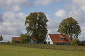 Half-timbered house in autumn, Georgsmarienhuette, Osnabrueck country, Lower Saxony, Germany, Europe — Stock Photo