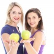 Two healthy women with apples — Stock Photo