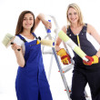 Happy confident woman decorators Happy confident woman decorators  — Photo
