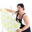 Exasperated woman hanging wallpaper Exasperated woman hanging wallpaper — Stock Photo