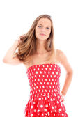 Attractive woman in colourful sundress Attractive woman in colourful sundre — Stock Photo