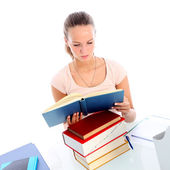 Dedicated female student studying — Stock Photo