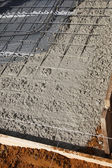 Newly poured cement floor and foundation — Stock Photo