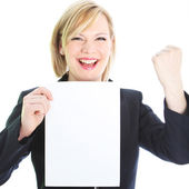 Jubilant woman with blank sheet of paper — Stock Photo