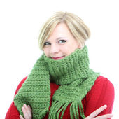 Woman wrapped in a winter scarf — Stock Photo