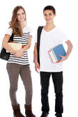 Teenage boy and girl with college books Teenage boy and girl with college b — Stock Photo