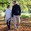 Young couple strolling through woodland — Stockfoto
