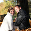 Smiling couple amongst autumn leaves Smiling couple in autumn leaves — Stock Photo