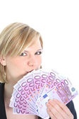 Beautiful Blonde Woman Holding 500 Euro Notes Smiling Blonde Woman Holding 500 Euro Notes — Stock Photo