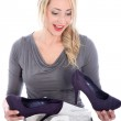 Happy woman with new shoes Happy woman with new shoes — Stock Photo