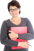 Friendly woman with red folder — Stock Photo