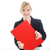 Efficient businesswoman with red clipboard — Stock Photo