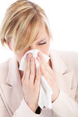 Young woman with a head cold — Stock Photo