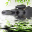 Black basalt spa stones in water - 图库照片