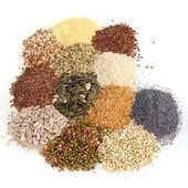 Groot assortiment van eetbare zaden — Stockfoto