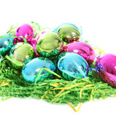 Colourful metallic Easter eggs — Stock Photo