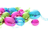 Bright shiny metallic Easter egg ornaments — Stock Photo