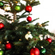 Christmas tree with red and green globes — Foto de Stock