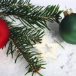 Stock Photo: Pine needles and baubles