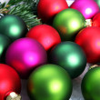 Colourful Christmas bauble background — Stock Photo