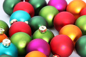 Christmas colorful globes, close up — Stock Photo