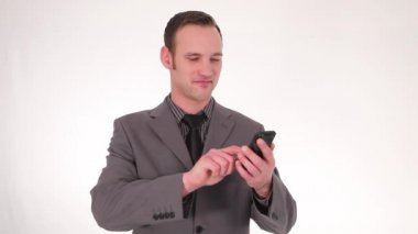Businessman writing a text message — Stock Video