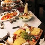 Cheese platter on a buffet — Stock Photo