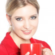 Blonde woman with coffee — Stock Photo