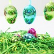 Colourful shiny metallic Easter Eggs — Foto Stock