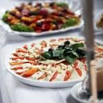 Platter of mozzarella cheese and tomato — Stock Photo