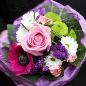 Colourful bouquet of mixed flowers — Stock Photo