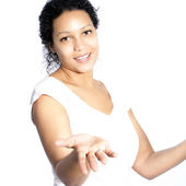 African American woman shrugging her shoulders — Stock Photo