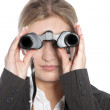Woman looking through binoculars — Stock Photo #24139081