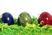 Three marble patterned Easter Eggs — Stock Photo