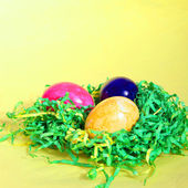 Colourful Easter Eggs on straw — Stock Photo