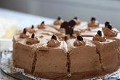 Creamy tasty chocolate birthday cake, close-up — Zdjęcie stockowe