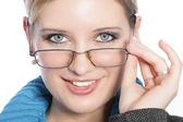 Closeup of Young Woman with Glasses — Stock Photo