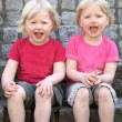 Adorable happy identical twins — Stock Photo