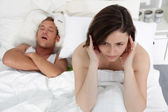 Marital problems in the bed — Stock Photo