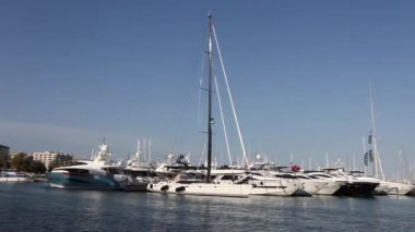 Luxury pleasure boats in a marina — Stock Video