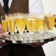 Tray of chilled champagne — Stock Photo
