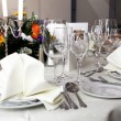 Stylish white table setting — Stock Photo