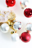 Red and white Christmas baubles — Foto de Stock