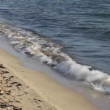 Surf lapping on a deserted tropical sandy beach and seashore, — Stockvideo