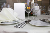 Luxury place setting with a menu card — Stock Photo