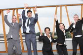 Successful business team cheering and rejoicing — Stock Photo