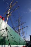 Hull and rigging of a tall ship — Foto de Stock
